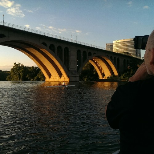 Mark filming at the Potomac