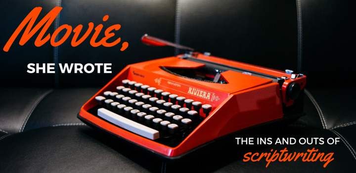 Movie She Wrote - orange typewriter on black leather surface