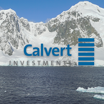 Calvert Investments - Calvert logo over coastal Antarctica