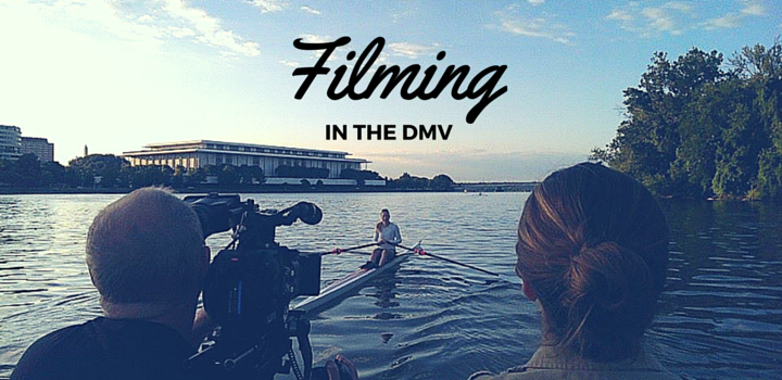 filming in the DMV - filming a rower on the Potomac River by the Kennedy Center