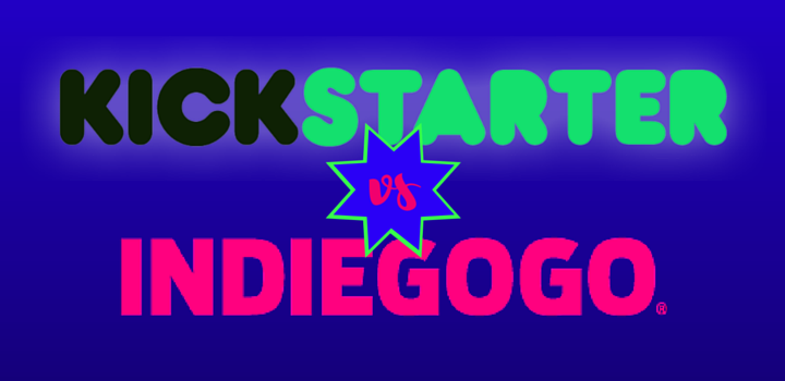 Kickstarter vs Indiegogo - graphic with prizefighter marquee style text with Kickstarter and Indiegogo logos.