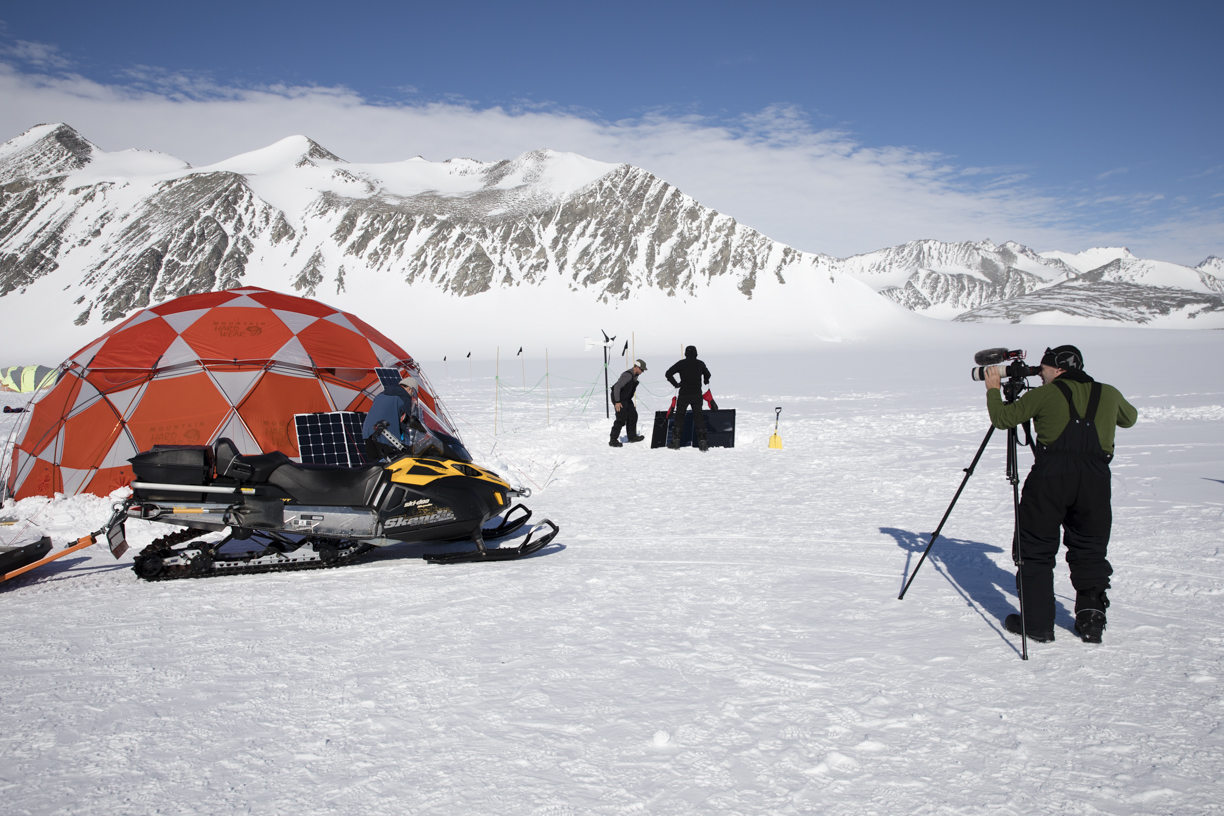 Mark Leisher filming in Antarctica